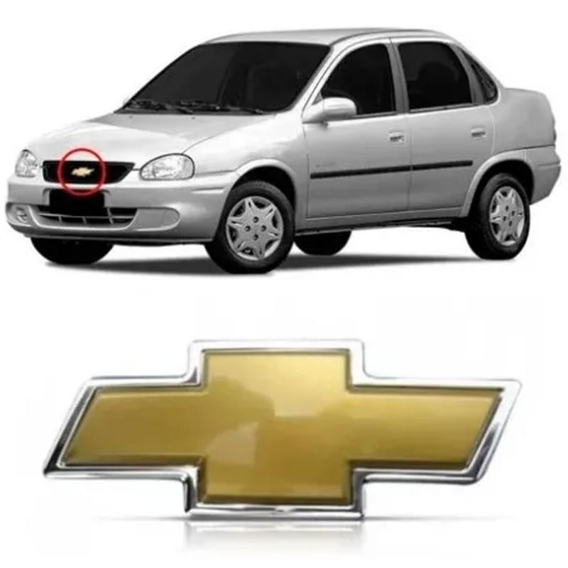 EMBLEMA GM DA GRADE DO RADIADOR CORSA CLASSIC 2008 A 2010 DOURADO
