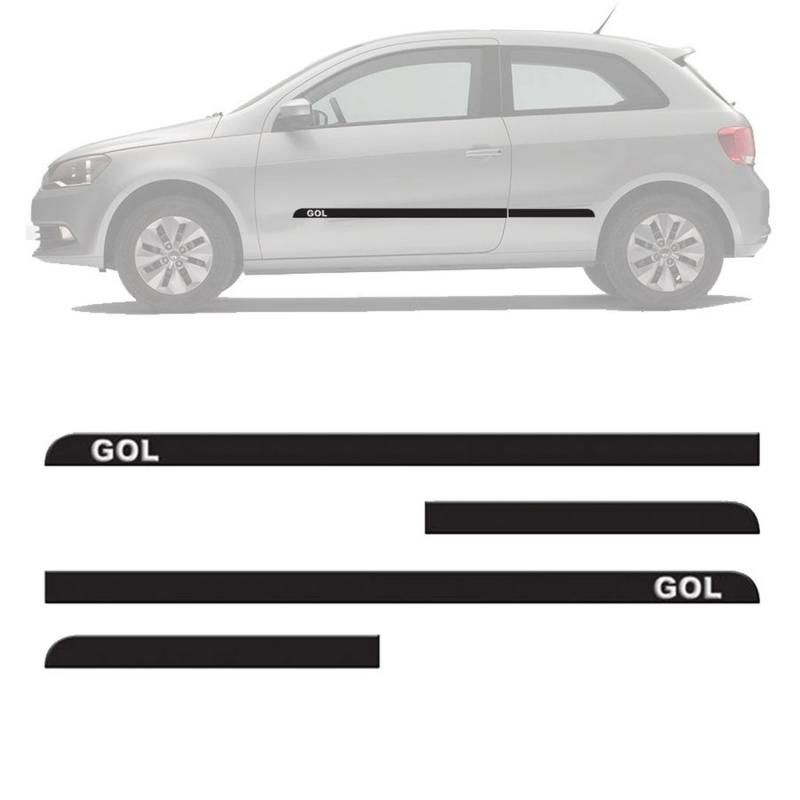 FRISO LATERAL GOL G6 GVI 2 PORTAS 2013 A 2015 PRETO COM NOME GRAVADO